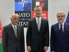 Mohammad Ashraf Ghani (President of Afghanistan), NATO Secretary General Jens Stoltenberg and Abdullah Abdullah (Chief Executive of Afghanistan) Foto: Nato