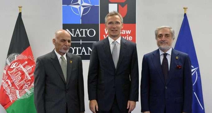 Mohammad Ashraf Ghani (President of Afghanistan), NATO Secretary General Jens Stoltenberg and Abdullah Abdullah (Chief Executive of Afghanistan) Foto: Nato