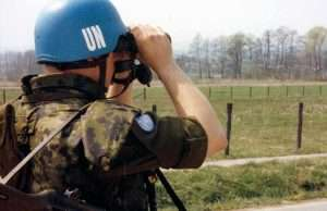 Hovedvagten ved A-COY august 1992 ved den danske FN-styrke i Kroatien. Foto: Forsvaret.dk