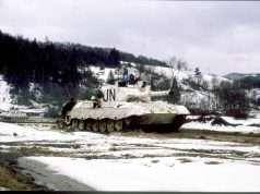 Billedet er fra NORDBATT II en nordisk FN-enhed under UNPROFOR (United Nations Protection Force), der skulle beskytte den sikre zone ved TUZLA 1994-1995.